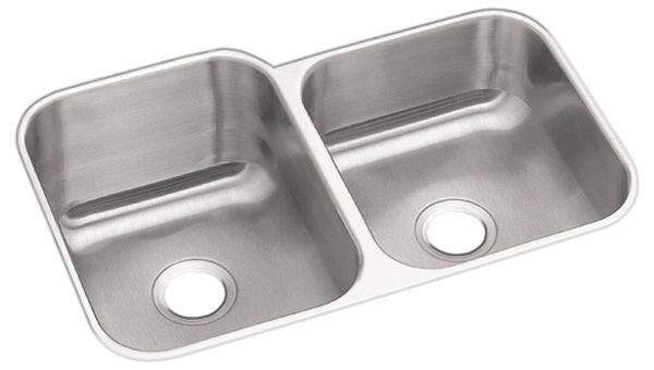 "18 Gauge Stainless Steel 31-3/4"" X 20-1/2"" X 10"" Radiant Satin Double Bowl Undermount Kitchen Sink Right Hand"