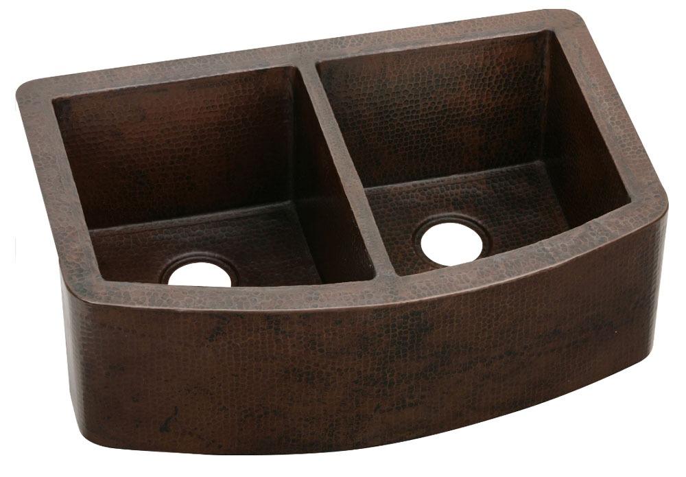 """16 Gauge Copper 33"""" X 22"""" X 10-1/2"""" Antique Hammered Double Bowl Undermount Kitchen Sink"""