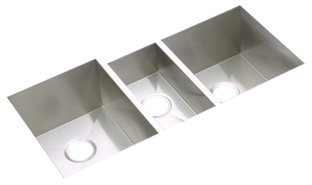 """Elkay Crosstown 16 Gauge Stainless Steel 40"""" x 20-1/2"""" x 10"""", Triple Bowl Undermount Sink Kit"""