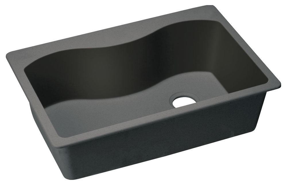 """Quartz 33"""" X 22"""" X 9-1/2"""" Black Single Bowl Pre-Scored for up to 5-Faucet Holes Top Mount Kitchen Sink"""