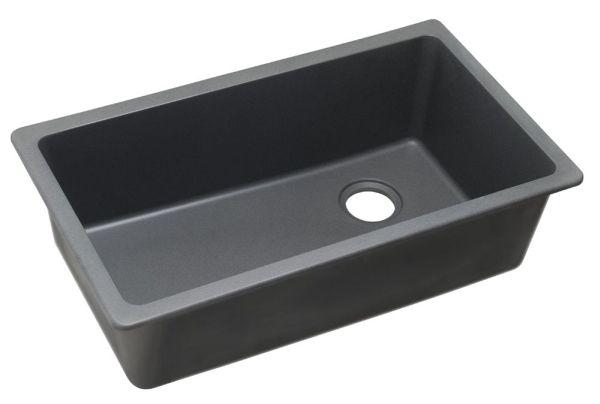 "Quartz 33"" X 18-3/4"" X 9-1/2"" Dusk Gray Single Bowl Undermount Kitchen Sink"