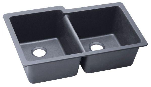 "Quartz 33"" X 20-1/2"" X 9-1/2"" Dusk Gray Offset Double Bowl Undermount Kitchen Sink"