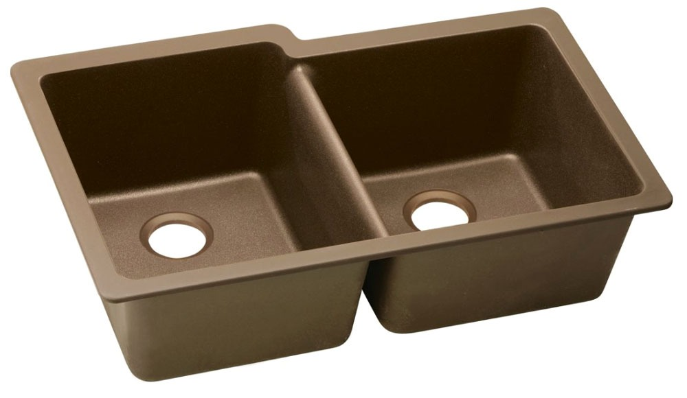 "Quartz 33"" X 20-1/2"" X 9-1/2"" Mocha Offset Double Bowl Undermount Kitchen Sink"