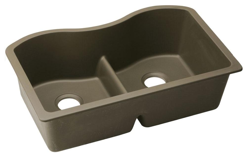 "Quartz 33"" X 20"" X 9-1/2"" Mocha Double Bowl W/Aqua Divide Undermount Kitchen Sink"