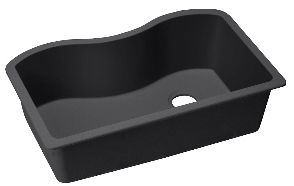 "Quartz 33"" X 20"" X 9-1/2"" Black Single Bowl Undermount Kitchen Sink"