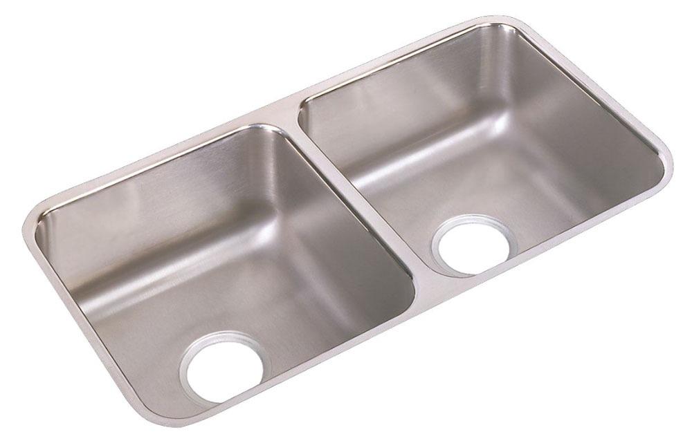 "18 Gauge Stainless Steel 31-3/4"" X 16-1/2"" X 7-1/2"" Lustertone Double Bowl Undermount Kitchen Sink"