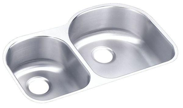 "18 Gauge Stainless Steel 31-1/4"" X 20"" X 7-1/2"" Lustertone Left Offset Double Bowl Undermount Kitchen Sink"