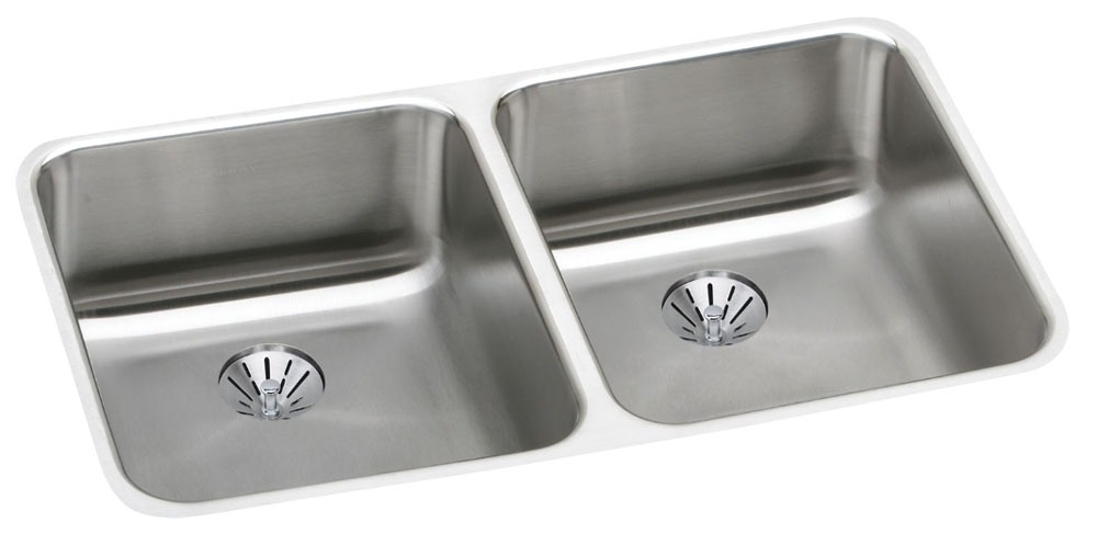 """18 Gauge Stainless Steel 30-3/4"""" X 18-1/2"""" X 4-7/8"""" Lustertone Double Bowl Undermount Kitchen Sink W/Drains and Strainers"""