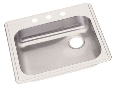 "22 Gauge Stainless Steel 25"" X 21-1/4"" X 5-3/8"" Satin Single Bowl 4-Faucet Hole Top Mount Kitchen Sink W/RH Drain"