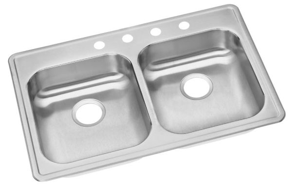 "22 Gauge Stainless Steel 33"" X 21-1/4"" X 5-3/8"" Satin Double Bowl 3-Faucet Hole Top Mount Kitchen Sink"