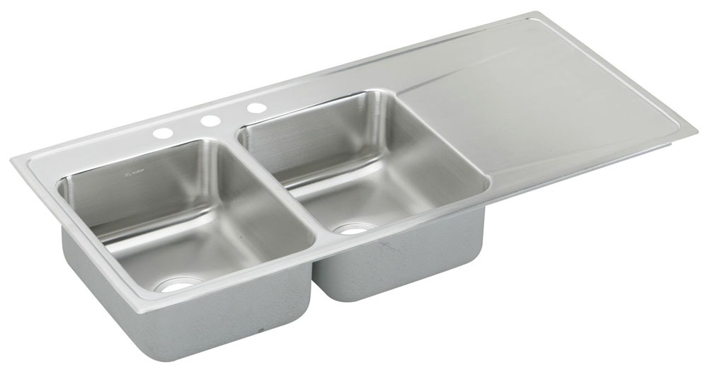 """18 Gauge Stainless Steel 48"""" X 22"""" X 7-5/8"""" Lustertone Left Hand Double Bowl 3-Faucet Hole Top Mount Kitchen Sink"""