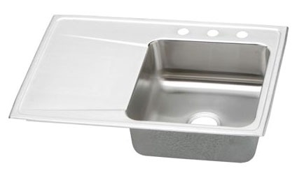 "18 Gauge Stainless Steel 33"" X 22"" X 7-5/8"" Lustertone Right Hand Single Bowl 4-Faucet Hole Top Mount Kitchen Sink"