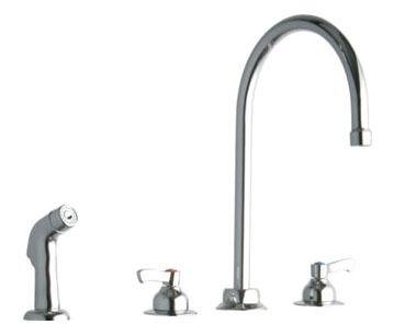 """Elkay 8"""" Centerset W/Concealed Deck Faucet W/8"""" Gooseneck Spout 2"""" Lever Handles W/Side Spray Chrome"""