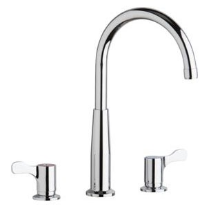 Kitchen Faucet with Gooseneck Spout & Two Lever Handle - Chrome Plated, Deck Mount, 1.5 GPM