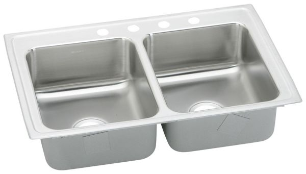 """18 Gauge Stainless Steel 33"""" X 21-1/4"""" X 7-7/8"""" Lustertone Double Bowl 3-Faucet Hole Top Mount Kitchen Sink"""