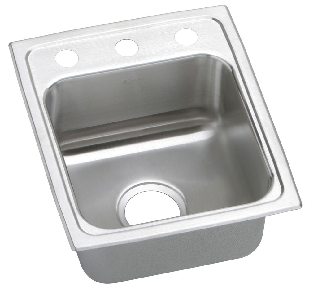 """15"""" x 17-1/2"""" x 6"""" Top / Drop-In Mount Single Bowl Kitchen Sink - Lustertone, Lustrous Highlighted Satin, Stainless Steel"""