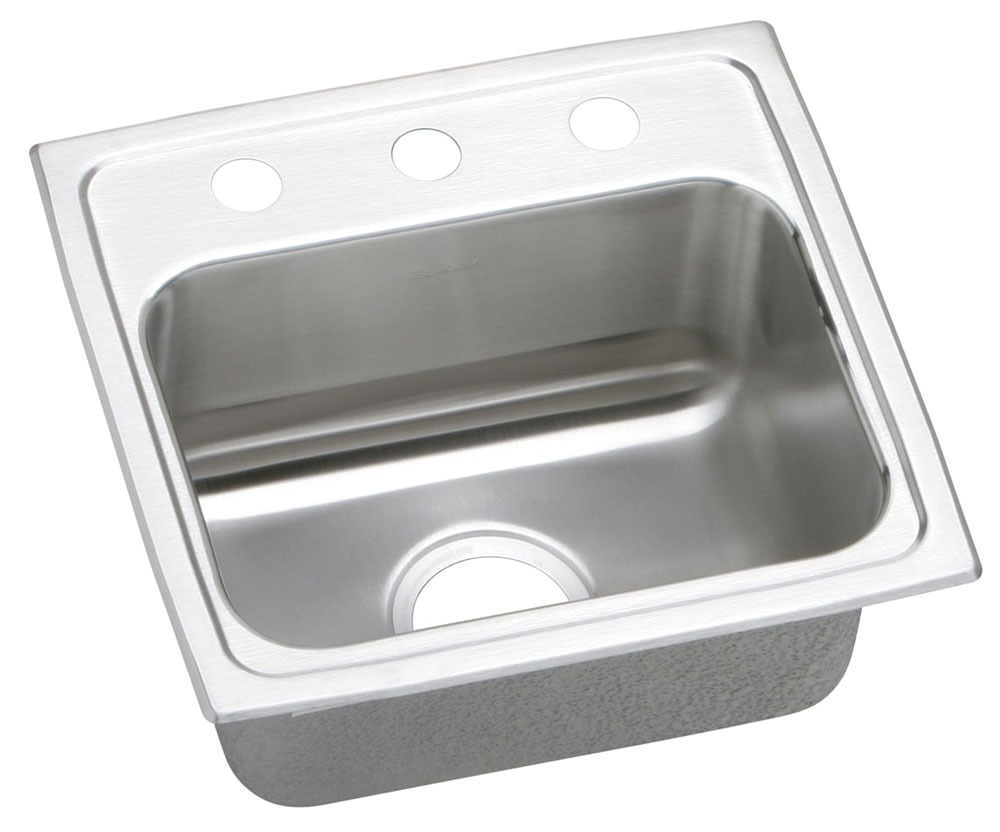 """18 Gauge Stainless Steel 17"""" X 16"""" X 5-1/2"""" Lustertone Single Bowl 2-Faucet Hole Top Mount Kitchen Sink"""