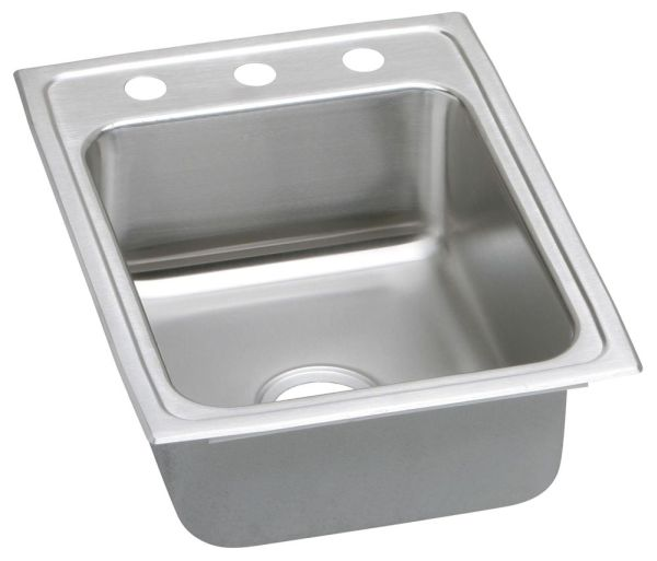"18 Gauge Stainless Steel 17"" X 20"" X 5-1/2"" Lustertone Single Bowl 3-Faucet Hole Top Mount Kitchen Sink"