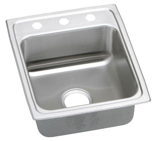 "18 Gauge Stainless Steel 17"" X 20"" X 6-1/2"" Lustertone Single Bowl 3-Faucet Hole Top Mount Kitchen Sink"