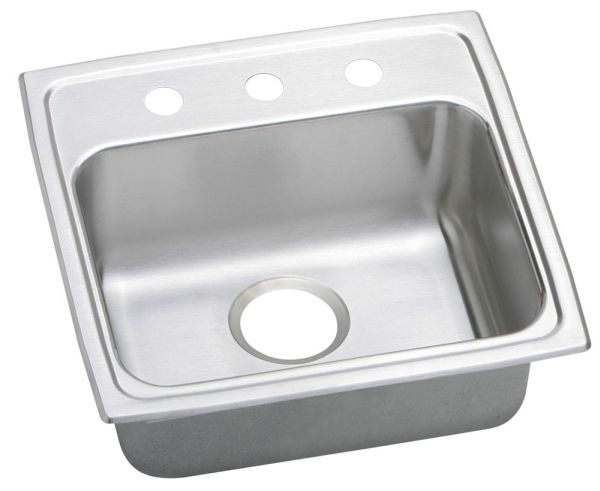 "18 Gauge Stainless Steel 19"" X 18"" X 5"" Lustertone Single Bowl 3-Faucet Hole Top Mount Kitchen Sink"