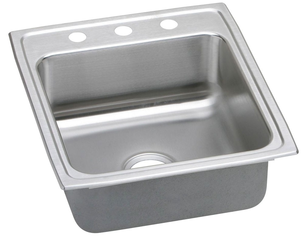 "18 Gauge Stainless Steel 19-1/2"" X 22"" X 6"" Lustertone Single Bowl 2-Faucet Hole Top Mount Kitchen Sink"