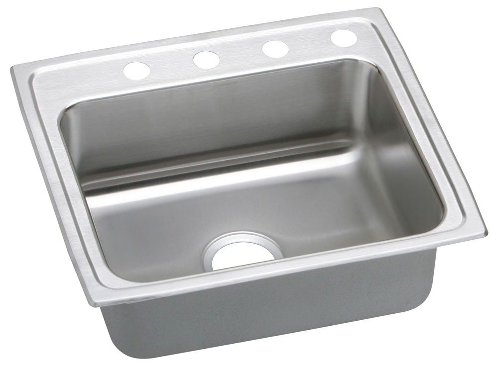 """18 Gauge Stainless Steel 22"""" X 19-1/2"""" X 4"""" Lustertone Single Bowl 1-Faucet Hole Top Mount Kitchen Sink"""