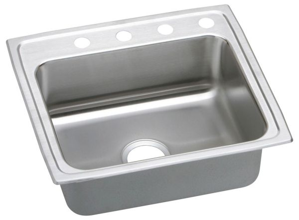 "18 Gauge Stainless Steel 22"" X 19-1/2"" X 6"" Lustertone Single Bowl 2-Faucet Hole Top Mount Kitchen Sink"