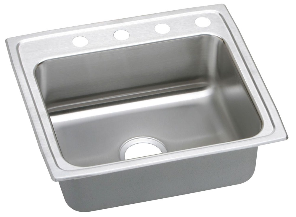 "18 Gauge Stainless Steel 25"" X 21-1/4"" X 6-1/2"" Lustertone Single Bowl 1-Faucet Hole Top Mount Kitchen Sink"