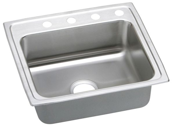 "25"" x 21-1/4"" x 5-1/2"" Top / Drop-In Mount Single Bowl Kitchen Sink - Lustertone, Lustrous Highlighted Satin, Stainless Steel"