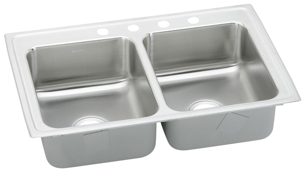 """18 Gauge Stainless Steel 29"""" X 18"""" X 6-1/2"""" Lustertone Double Bowl 3-Faucet Hole Top Mount Kitchen Sink"""