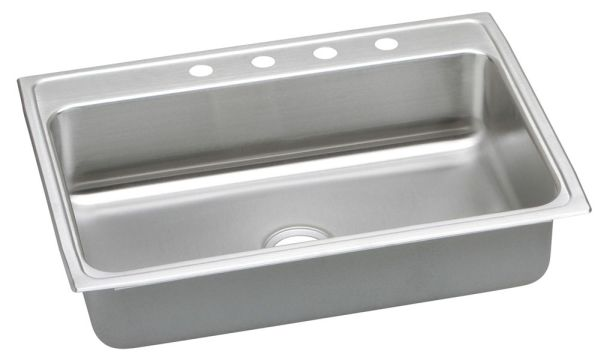 "18 Gauge Stainless Steel 31"" X 22"" X 6-1/2"" Lustertone Single Bowl 4-Faucet Hole Top Mount Kitchen Sink"