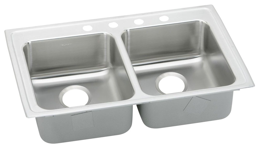"""33"""" x 19-1/2"""" x 6"""" Top / Drop-In Mount Double-Equal Bowl Kitchen Sink - Lustertone, Lustrous Highlighted Satin, Stainless Steel"""