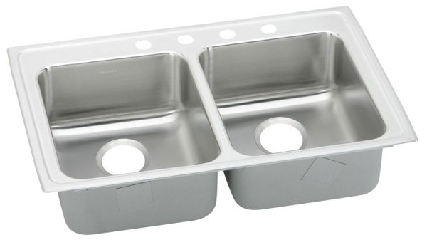 "18 Gauge Stainless Steel 33"" X 21-1/4"" X 6-1/2"" Lustertone Double Bowl 4-Faucet Hole Top Mount Kitchen Sink"