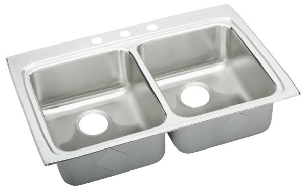 "33"" x 22"" x 5-1/2"" Top / Drop-In Mount Double-Equal Bowl Kitchen Sink - Lustertone, Lustrous Highlighted Satin, Stainless Steel"