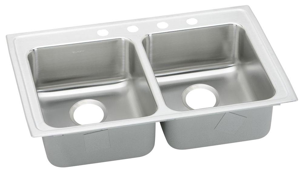 """Elkay Lustertone Stainless Steel 29"""" x 22"""" x 5-1/2"""", Equal Double Bowl Top Mount ADA Sink"""