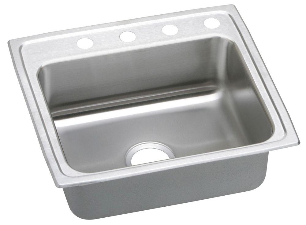 "20 Gauge Stainless Steel 25"" X 22"" X 7-1/2"" Brilliant Satin Single Bowl 2-Faucet Hole Top Mount Kitchen Sink"