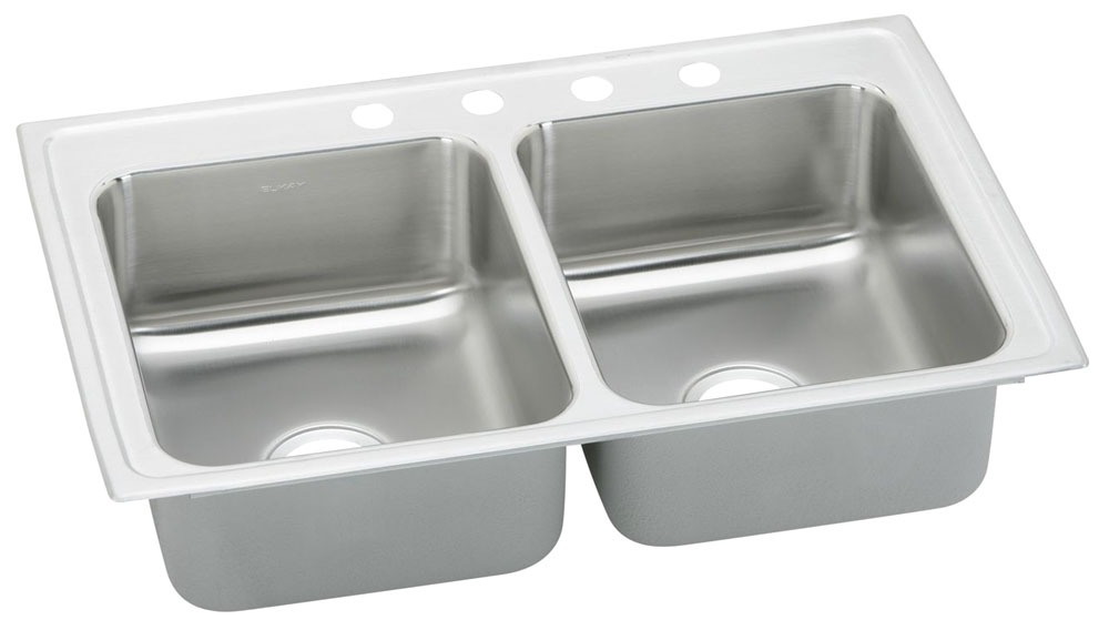 """Elkay Pacemaker Stainless Steel 33"""" x 22"""" x 7-1/2"""", Equal Double Bowl Top Mount Sink"""