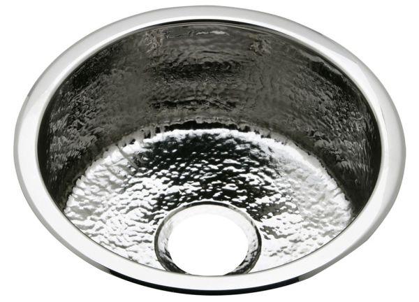 "Elkay Stainless Steel 16-3/8"" x 16-3/8"" x 7"", Single Bowl Dual Mount Bar Sink, Hammered Mirror"