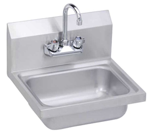 "17"" x 15"" Wall Mount Hand Sink - 2-Hole, Stainless Steel"