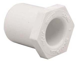 "1-1/4"" x 3/4"" PVC Hex Head Reducing Bushing - XIRTEC 140, SCH 40, Spigot x Socket"