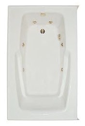 "35-3/4"" x 60"" x 21-3/4"" Alcove Whirlpool Tub - PRO-FIT, Biscuit, 4-Body and 2-Foot Jets"