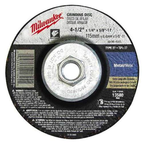 "4-1/2"" x 1/4"" x 5/8""-11 TPI Reinforced Depressed Center Grinding Wheel - ZA24R, Type 27"