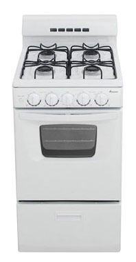 "20"" Freestanding Gas Range - 9500 BTU, 4-Burners, White"
