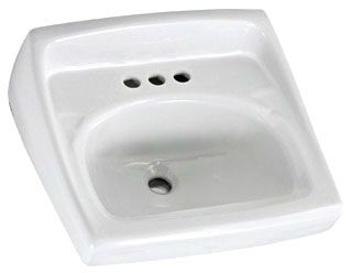 "20-1/2"" x 18-1/4"", White, Vitreous China, 3-Hole, D in Rectangle, Single Bowl, Wall Mount, Self Draining Bathroom Sink"