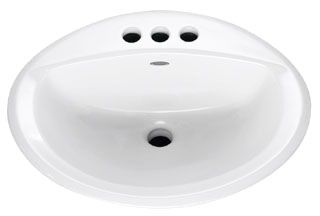 "20-3/8"" x 17-3/8"" Drop-In Mount Bathroom Sink - AQUALYN, 3-Hole, White, Vitreous China"