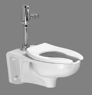 Wall Mount Elongated Toilet Bowl - FloWise / Afwall, White, 1.6 Gpf / 6.0 Lpf