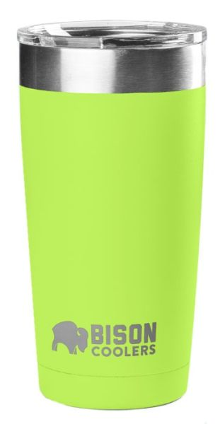 20 Oz Double Wall Vacuum Insulated Tumbler - Lime Stainless Steel, with Clear Shatter-Proof Lid