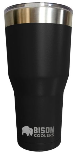 30 Oz Double Wall Vacuum Insulated Tumbler - Black Stainless Steel, with Clear Shatter-Proof Lid