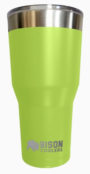 30 Oz Double Wall Vacuum Insulated Tumbler - Lime Stainless Steel, with Clear Shatter-Proof Lid