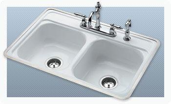 "32 X 21"" Drop-In/Undermount Kitchen Sink, Porcelain Enameled Cast Iron"